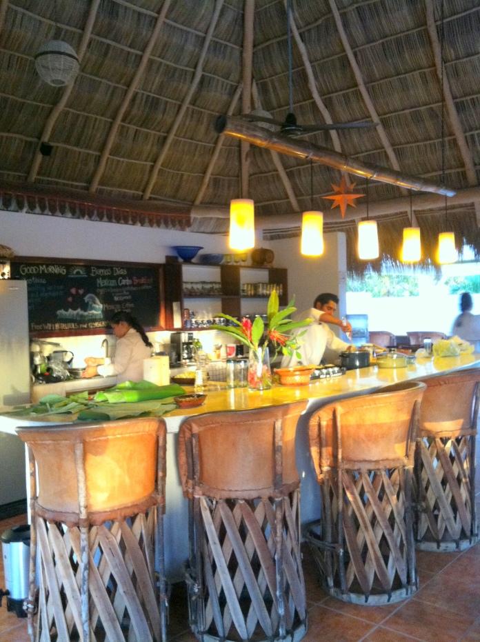 Kitchen of Hotelito los Suenos at sunset.