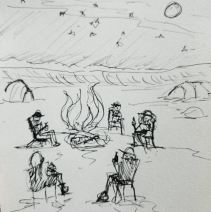"""Prompt: """"Fire"""", drawn while on the road to camp in the desert"""