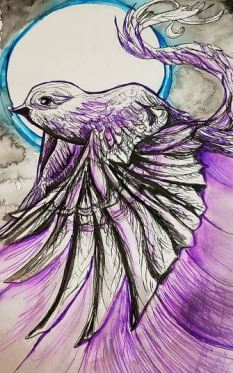 """prompt: """"Flight"""" -- Graphik pens and """"normal"""" writing pen with washes of Sumi ink"""