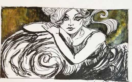 No prompt, more work inspired by the visit to LACMA and experiments with gold ink and new Graphik pens.