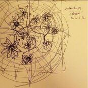 "Prompt: ""dozen"" - a dozen daisies in a mandala, drawn without pen leaving paper"