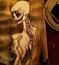 """Prompt: """"Creepy"""" -- exploring my new gold ink, Sumi ink and graphik pens"""