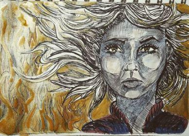 "Prompt: ""Burn"" -- Charlie from Firestarter - Graphik pens, white gel pen, gold ink, micron, Faber Castell pens"